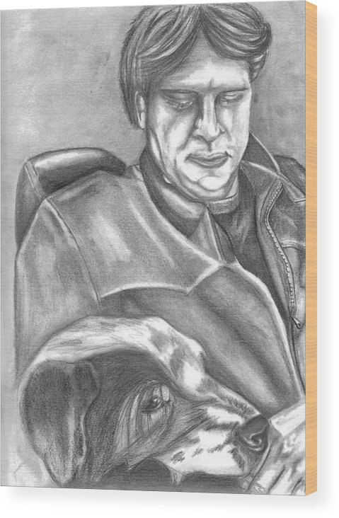 Gary Wood Print featuring the drawing Gary And Blue by Crystal Suppes