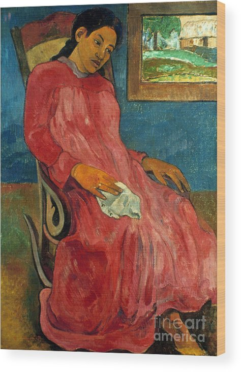 1891 Wood Print featuring the photograph Gauguin: Reverie, 1891 by Granger