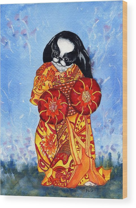 Japanese Chin Wood Print featuring the painting Geisha Chin by Kathleen Sepulveda
