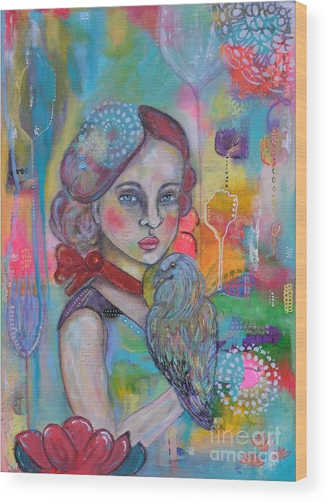 Girl With Nicobar Bird Wood Print featuring the painting Girl With Nicobar Bird Original Canvas Painting by Cristina Parus