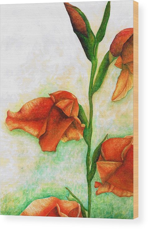Flower Wood Print featuring the painting Gladiolas by Brandon Sharp