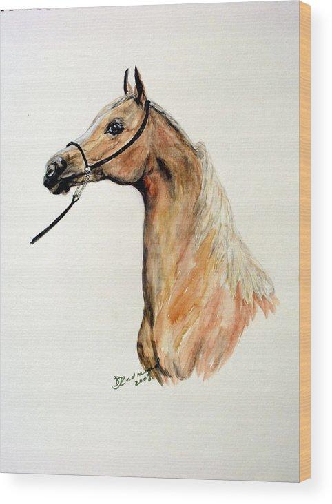 Horse Arabian Palominio Wood Print featuring the painting Golden Arabian Horse by BJ Redmond