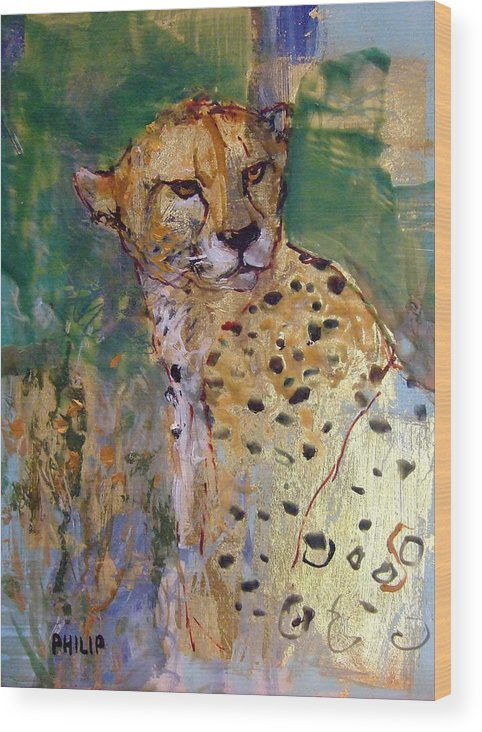 Cheetah Wood Print featuring the painting Golden Cheetah by Michelle Philip