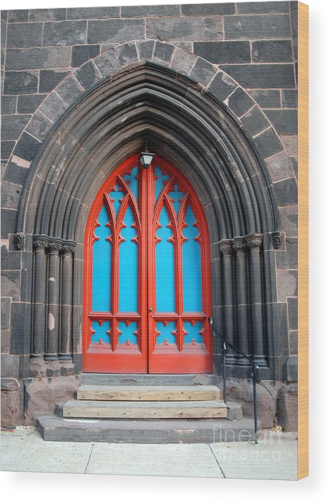 Architecture Wood Print featuring the photograph Gothic Church Door by Walter Oliver Neal