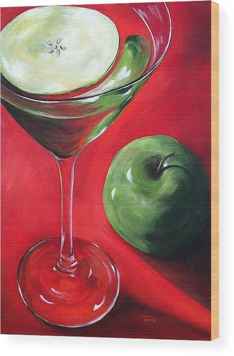 Martini Wood Print featuring the painting Green Apple Martini by Torrie Smiley