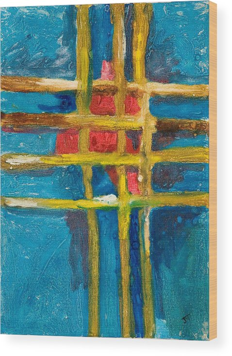 Abstract Wood Print featuring the painting Grid St Yellow Captures Red by John Toxey