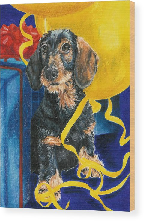 Dogs Wood Print featuring the drawing Happy Birthday by Barbara Keith