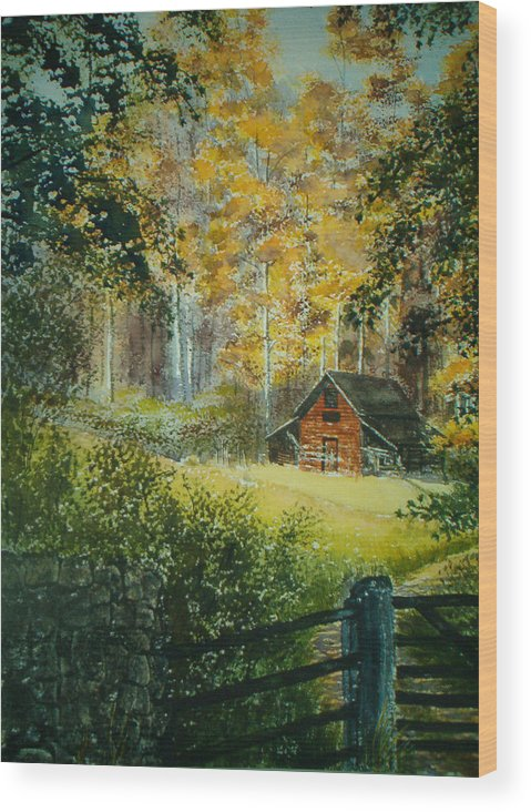 Landscape Wood Print featuring the painting Hillside Barn by Shirley Braithwaite Hunt