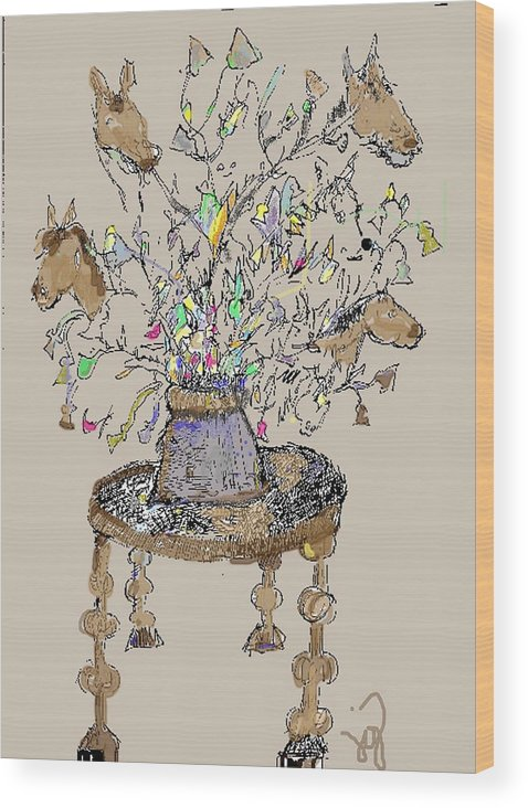 Horse Wood Print featuring the mixed media Horse Table by Joyce Goldin