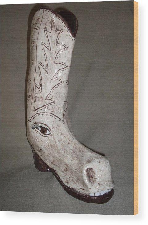 Horse Shoe Pun Joke Funny Humor Boot Wood Print featuring the sculpture Horseshoe by Sally Van Driest