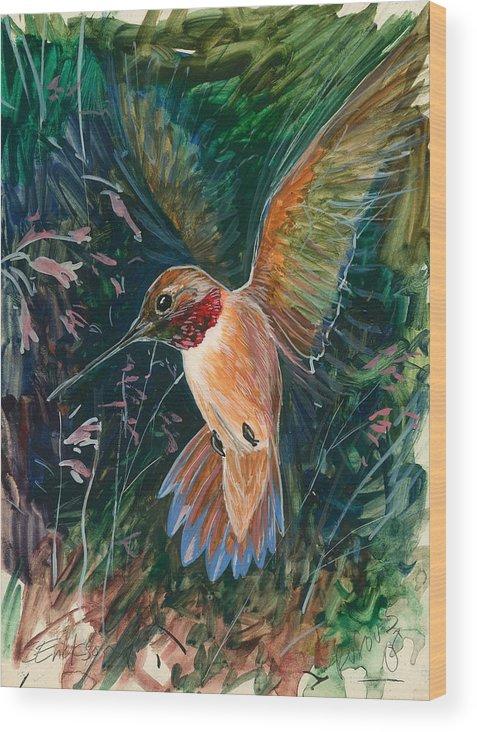 Hummingbird Wood Print featuring the painting Hummingbird by Shari Erickson