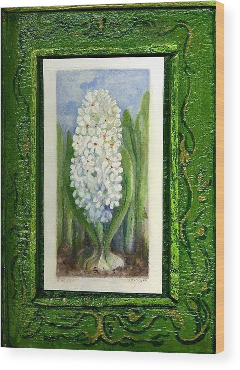 Elle Fagan Wood Print featuring the painting Hyacinth by Elle Smith Fagan