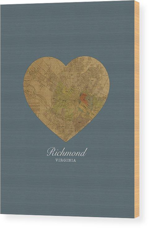 I Heart Wood Print featuring the mixed media I Heart Richmond Virginia Street Map Love Americana Series No 057 by Design Turnpike