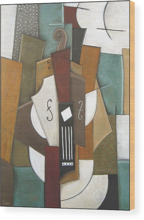 Cubism Wood Print featuring the painting Impromptu by Trish Toro