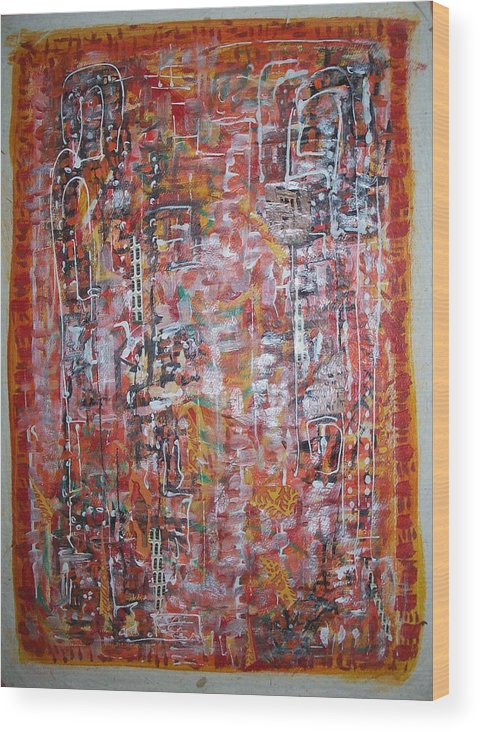 Abstract Wood Print featuring the painting Indian Light by Helene Champaloux-Saraswati