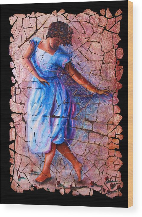 Isadora Duncan Wood Print featuring the painting Isadora Duncan - 3 by OLena Art Lena Owens
