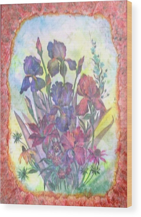 Floral Wood Print featuring the mixed media Itallian Garden by John Vandebrooke