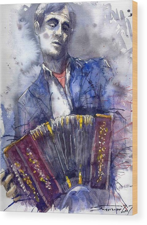 Jazz Wood Print featuring the painting Jazz Concertina Player by Yuriy Shevchuk