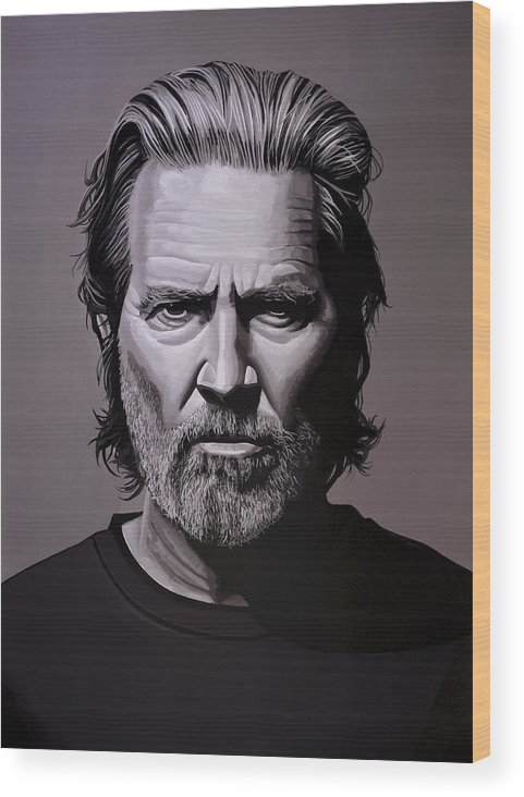 Jeff Bridges Wood Print featuring the painting Jeff Bridges Painting by Paul Meijering