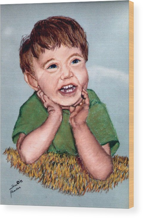Baby Portrait Wood Print featuring the painting Jerry by Stan Hamilton