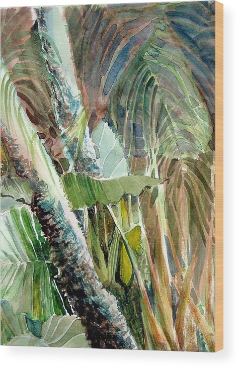 Palm Tree Wood Print featuring the painting Jungle Light by Mindy Newman