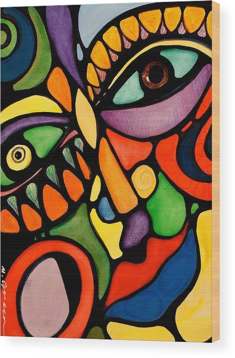 Abstract Wood Print featuring the painting Karma by Maya Green