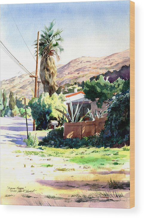Watercolor Wood Print featuring the painting Laguna Canyon Palm by John Norman Stewart