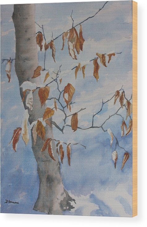 Beech Leaves Wood Print featuring the painting Last Leaves by Debbie Homewood