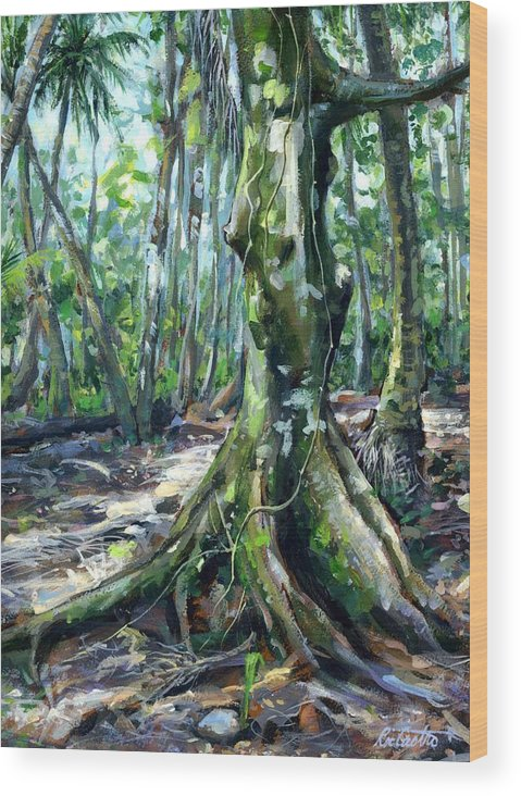 Tropical Landscape Wood Print featuring the painting Lemai Trunk by Ric Castro