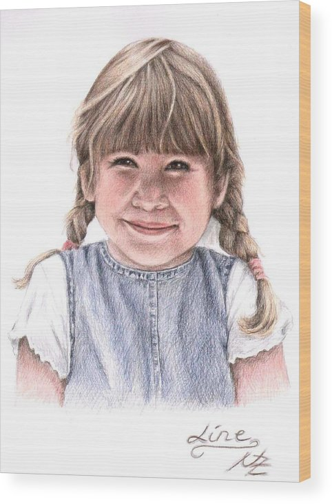 Girl Wood Print featuring the drawing Little Girl by Nicole Zeug