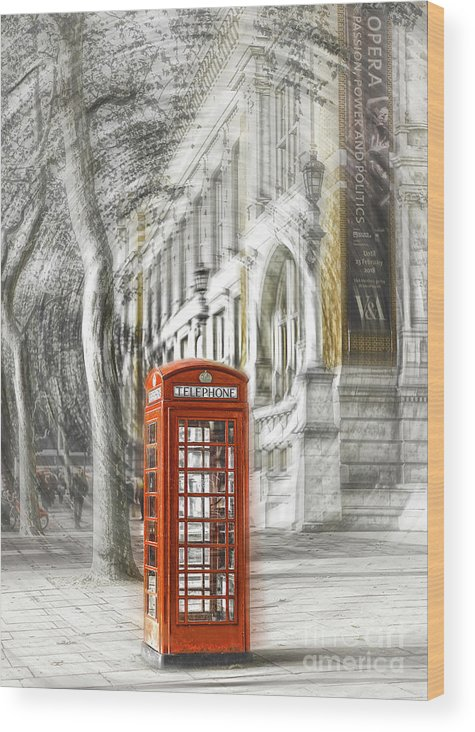 Victoria And Albert Museum Wood Print featuring the photograph London Telephone C by Alex Art and Photo