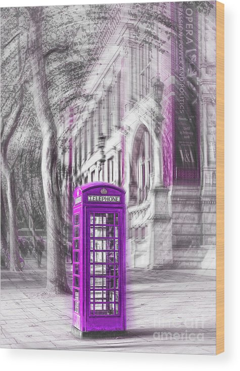 Victoria And Albert Museum Wood Print featuring the photograph London Telephone Purple by Alex Art and Photo