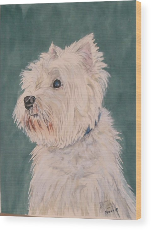 Dog Wood Print featuring the painting Mannie by Diane Ziemski