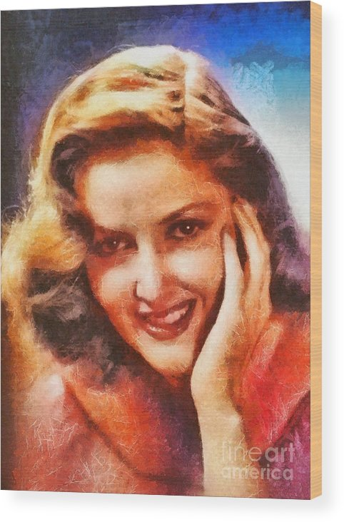 Hollywood Wood Print featuring the painting Martha Vickers, Vintage Hollywood Actress by Mary Bassett