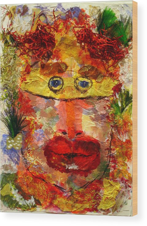 Mask Wood Print featuring the mixed media Mask by Lessandra Grimley