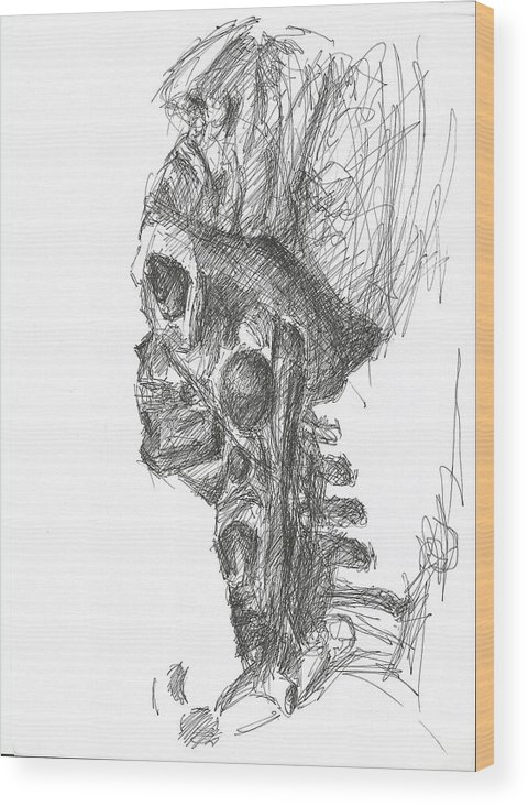 Skull Skeleton Skinned Pen Drawing Paper Bone Creepy Dark Wood Print featuring the drawing Mask Off by Lampros Christakis