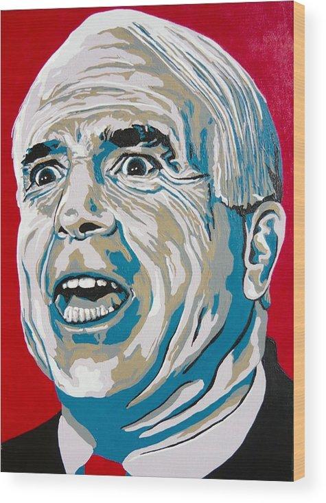 Politics Wood Print featuring the painting Mccain by Dennis McCann