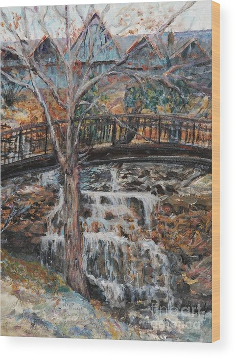 Waterfalls Wood Print featuring the painting Memories by Nadine Rippelmeyer