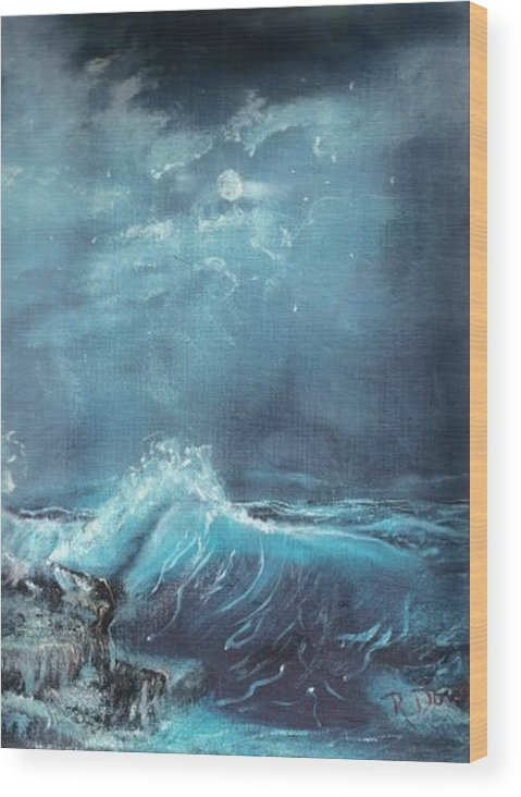 Water Sea Moon Surf Seascape Moonlight Lake Ocean Wood Print featuring the painting Moonlight Surf by Raymond Doward