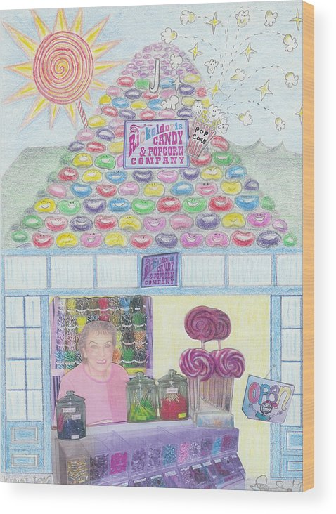 Mountain Wood Print featuring the drawing Mountain Of Jelly Beans by Ingrid Szabo