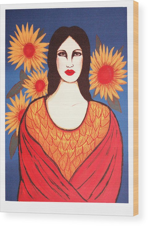 Laura Lopez Cano Wood Print featuring the print Mujer Con Flores by Laura Lopez Cano