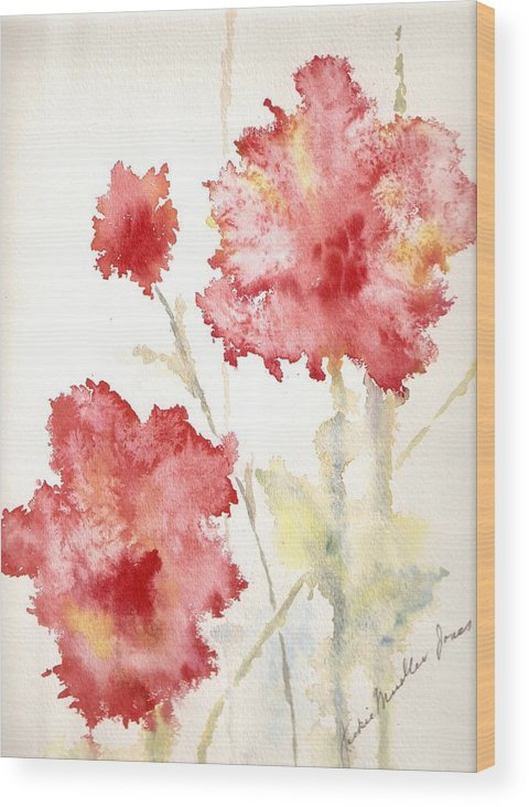 Flowers Wood Print featuring the painting My Magic Garden by Jackie Mueller-Jones