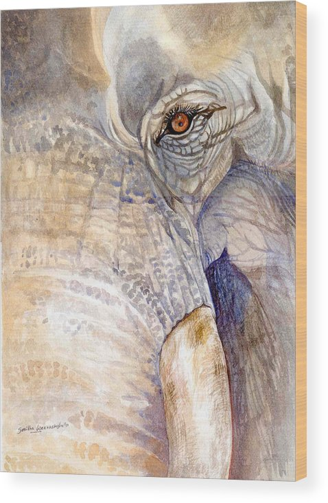 Wildlife Art Wood Print featuring the painting My Tiny Eye - Asian Tusker by Sasitha Weerasinghe