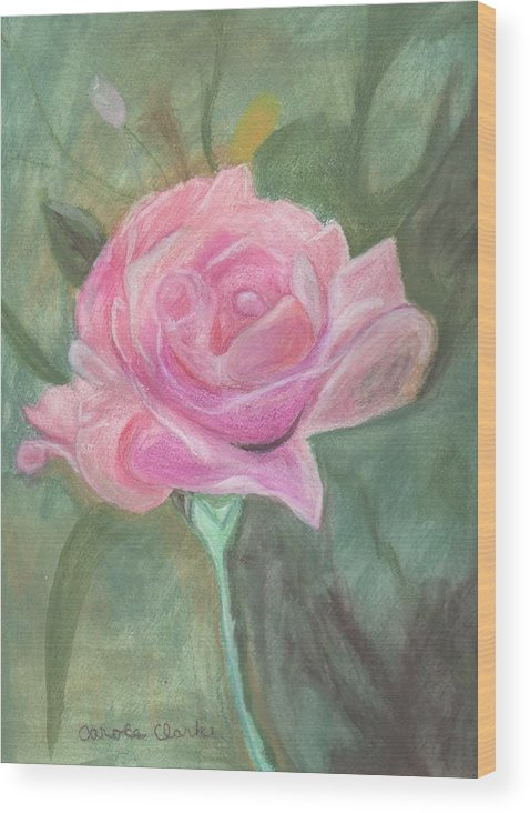 Pink Wood Print featuring the pastel My Wild Irish Rose by Carole Clark
