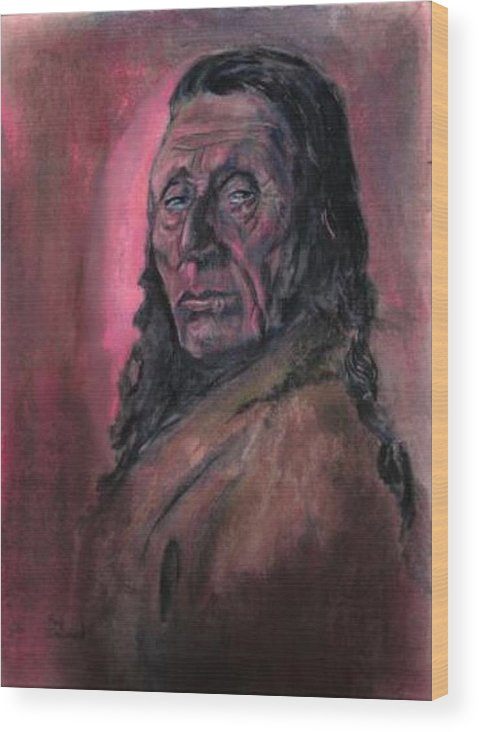 Native American People Portraits Profile Wood Print featuring the painting Native American Study by Raymond Doward