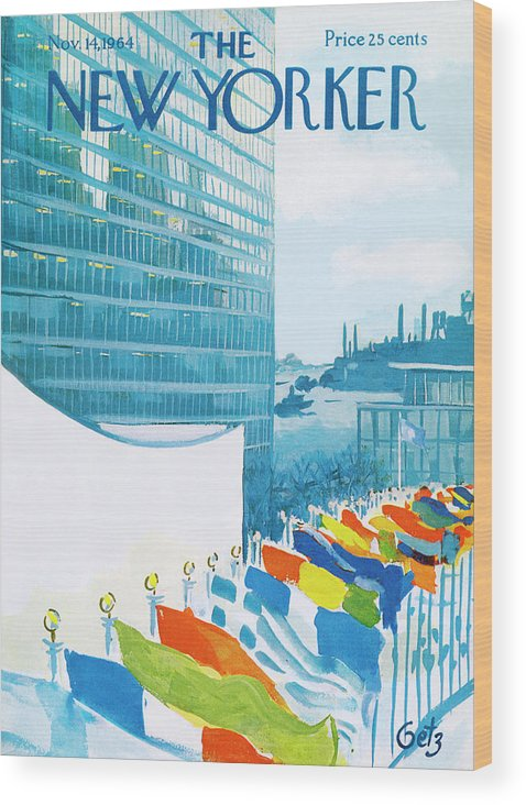 Urban Wood Print featuring the painting New Yorker November 14th, 1964 by Arthur Getz