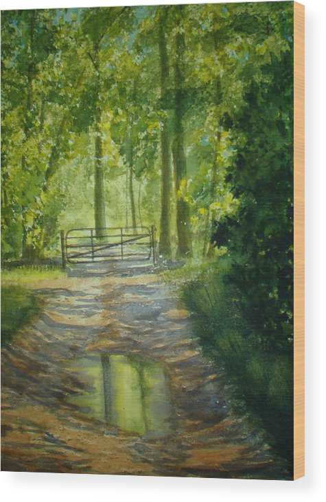 Landscape Wood Print featuring the painting No Trespassing by Shirley Braithwaite Hunt
