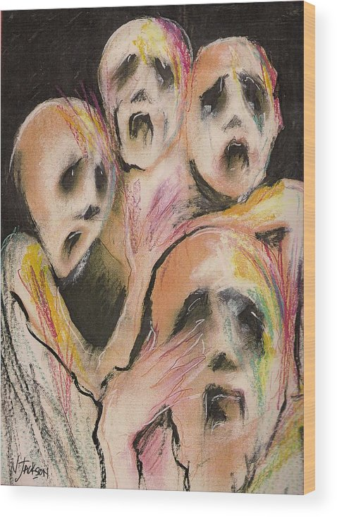 War Cry Tears Horror Fear Darkness Wood Print featuring the mixed media No Words by Veronica Jackson