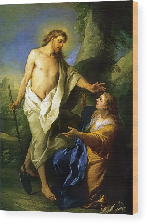 Jesus Appears Mary Magdalene Wood Print featuring the painting Noli Me Tangere by Carle Vanloo