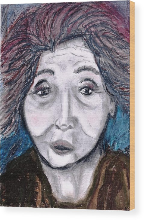 Face Wood Print featuring the drawing Old Suchi by JuneFelicia Bennett